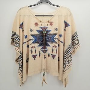 Western Aztec Top With Necklace